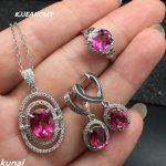 KJJEAXCMY Fine jewelry, Multicolored jewelry women 925 <b>silver</b> inlay natural Topaz powder set simple wholesale