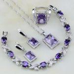 Square Purple Crystal White Zircon 925 Sterling Silver <b>Jewelry</b> Sets For Women <b>Wedding</b> Earrings/Pendant/Necklace/Bracelet/Ring