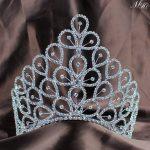 Flowers Handmade Crown 6″ Floral Flower Tiaras Clear Crystal Austrian Rhinestones <b>Wedding</b> Bridal Pageant Party Hair <b>Jewelry</b>