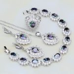 Mystic Rainbow Fire Cubic Zirconia White CZ 925 Silver <b>Jewelry</b> Sets For Women Party <b>Necklace</b>/Earrings/Pendant/Ring/Bracelet