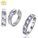 Hutang Diamond-<b>Jewelry</b> Sets Natural Tanzanite Solid 925 <b>Sterling</b> <b>Silver</b> Earrings & Ring for Women Fine Jewellery Wedding Gift