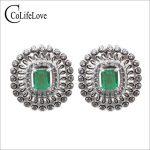 Vintage <b>silver</b> emerald stud earrings 4 mm*5mm SI grade Colombia emerald earrings 925 <b>sterling</b> <b>silver</b> emerald <b>jewelry</b> for wedding