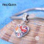 FirstQueen Pure 925 Sterling <b>Silver</b> Heart Bead Enamel UK Flag With National Bird Fit Original <b>Bracelet</b> DIY Patriotic Jewelry