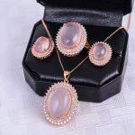 Luxurious rose quartz <b>silver</b> jewelry set natural big size rose quartz gemstone jewelry solid 925 <b>silver</b> jewelry romantic gift