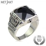 MetJakt Natural Obsidian Vintage Crown Rings Solid 925 <b>Sterling</b> <b>Silver</b> Ring for Men's <b>Jewelry</b> Boutique Collections