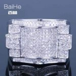 BAIHE <b>Sterling</b> <b>Silver</b> 925 0.7CT Certified 100% Genuine Natural Diamonds Flawless Engagement Men Trendy Fine Jewelry <b>Ring</b>