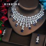HIBRIDE Elegent Sparkling Big Water Drop Blue AAA Cubic Zirconia Jewely Sets For Bridal Wedding Brilliant Bijoux For Women N-499