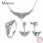 Modian Real 925 Sterling Silver Crown <b>Jewelry</b> Set Classic Wedding Ring Fashion Pendant <b>Necklace</b> Simple Stud Earrings For Women