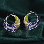 RainMarch Bohemian Enamel Silver Earrings For Women CZ Stone Wedding 925 Sterling Silver Earring Handmade enamel <b>Jewelry</b>