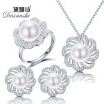 Dainashi new freshwater pearl <b>jewelry</b> sets with pearl necklace pearl adjustable rings pearl earrings of 925 <b>sterling</b> <b>silver</b>