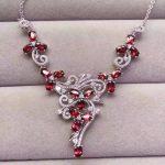 Natural Red garnet stone Necklace Natural Gemstone Pendant Necklace Girls Ladies Luxury personality big wedding fine <b>Jewelry</b>