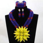 Wonderful Yellow Crystal Brooch Bib Statement Necklace Set Wedding African Nigerian Jewelry Set Brides Free Shipping WA970