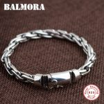 BALMORA 100% Real 925 <b>Sterling</b> <b>Silver</b> Bracelets for Men Father Gift Simple Fashion <b>Jewelry</b> about 20cm Punk Bracelet SL0013