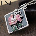 FNJ 925 <b>Silver</b> Flower Pendant Black Stone Hang Colorful Crystal Original S925 Thai <b>Silver</b> Pendants Men Women for <b>Jewelry</b> Making