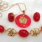 Natural Prett Lovely Women's Wedding shipping>>charming green/red gem -black mixed bracelet/earring/ring set wedding