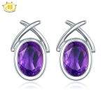 Hutang Classic Oval 7x5mm Natural Amethyst Stud <b>Earrings</b> Solid 925 Sterling <b>Silver</b> Purple Gemstone Fine Jewelry for Women Gift