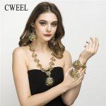 CWEEL Women Long Flower <b>Jewelry</b> Sets Nigerian Beads Necklace <b>Jewelry</b> Set Big Bridal Dubai Turkish African Bead Jewellery