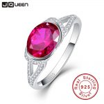 2ct 925 <b>Sterling</b> <b>Silver</b> Rings Platinum Plated AAA Crystal Big Oval Ruby Ring for Women Wedding Bride <b>Jewelry</b>