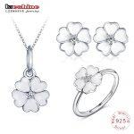 LZESHINE New 925 Sterling <b>Silver</b> Fashion Flower Jewelry Sets For Women White Enamel Heart Petals Pendant/Ring/<b>Earrings</b> 3pc Sets