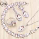 Champagne Ziconia Bridal <b>Silver</b> 925 Jewelry Sets Earrings For Women Wedding Jewelry Necklaces & Pendants Rings <b>Bracelet</b> Set