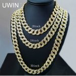 UWIN Iced Out Bling Rhinestone Crystal Goldgen Finish Miami Cuban Link Chain Men's Hip hop Necklace <b>Jewelry</b> 20, 24, 30 ,36 Inch