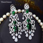 ThreeGraces Luxury <b>Wedding</b> <b>Jewelry</b> Dark Green Cubic Zircon Stone White Gold Color Long Big Statement Earrings For Brides ER340
