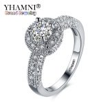 YHAMNI Engraved 18KRGP Stamp Gold Color Rings For Women Micro inlay 1 ct CZ Zircon Ring White Gold Fine <b>Jewelry</b> <b>Accessories</b> R813