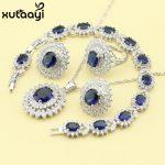 <b>Fashion</b> 925 Silver <b>Jewelry</b> Sets For Women Dark Blue Cubic Zirconia White CZ Fancy Wedding Necklace Rings Earrings Bracelet