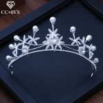 CC tiaras and crowns hairbands luxury pearl shine cz engagement <b>wedding</b> hair accessories for bride <b>jewelry</b> flower shape XY204