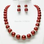 Discount!!DIY Lovely10mm Red Sea Shell Pearl Necklace Earring 1Set18″ beads <b>jewelry</b> <b>making</b> AAA+++ about43pcs/strands YS0337
