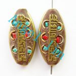 (3 pieces/lot)Nepal Tibetan Type Manual <b>Antique</b> Bead, Flat Oval Brass Embed Imitation Turquoises H64474 30x15x6mm