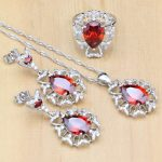 Mystic Red Zircon White Crystal 925 Silver <b>Jewelry</b> Sets For Women Wedding <b>Accessories</b> Earrings/Pendant/Necklace/Rings