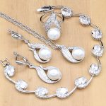 925 <b>Silver</b> Bridal Jewelry Sets Natural White Zircon With Pearls Beads For Women Wedding Earrings/Pendant/Necklace/Ring/<b>Bracelet</b>
