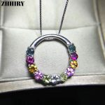 ZHHIRY Solid 925 <b>sterling</b> <b>silver</b> Genuine Natural Tourmaline Necklace Pendant With Chain For Women Real Color Stone Fine <b>Jewelry</b>