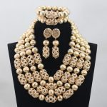 New Gold 4 Layers 2017 Latest African Wedding <b>Jewelry</b> Set <b>Handmade</b> Balls Beads Bridal Necklace <b>Jewelry</b> Sets Free ShippingABH033