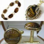 Prett Lovely Women's Wedding wholesale nice perfect match tiger eye stone bracelet pendant & cuffink <b>jewelry</b> set