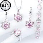 Wedding Pink Zirconia Silver 925 <b>Jewelry</b> Sets Women Costume Earrings Pendant Necklace Bracelets Rings Set Jewellery Gift Box