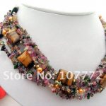 6 strands Pearl Natural Tourmaline Tiger Eye <b>Necklace</b>