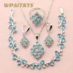 WPAITKYS Trendy Blue Cubic Zirconia 925 Sterling <b>Silver</b> Jewelry Sets For Women Jewelery Earrings <b>Bracelet</b> Necklace Ring Free Box