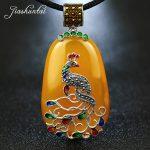 JIASHUNTAI Vintage 100% 925 <b>Silver</b> <b>Sterling</b> Royal Natural Stones Peacock Pendant Necklace <b>Jewelry</b> For Women Retro