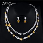 ZAKOL Luxury Zircona Women <b>Jewelry</b> Sets multi-layer Flower Shape <b>Necklace</b> Earrings Set For Women Party FSSP384
