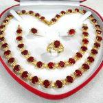 Prett Women's Wedding charm noble red zircon necklace earring bracelet and ring <b>jewelry</b> sets