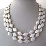 Lii Ji 3 Strands Natural White Rhombus Freshwater Pearl <b>Necklace</b> 925 Sterling <b>Silver</b> Gold Color 17-19″