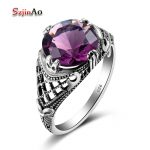 Szjinao Genuine 100% 925 Sterling <b>Silver</b> Skull Ring Bohemia Style with Amethyst For Women Wedding <b>Jewelry</b> Wholesale