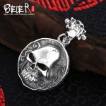 New style hot sale Beier 925 <b>silver</b> sterling punk man Pendant circular skull pendant <b>necklace</b> fashion Jewelry A0098
