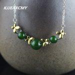 KJJEAXCMY Fashion Pendant S925 <b>sterling</b> <b>silver</b> <b>jewelry</b> gold heart-shaped lady Turquoise Necklace New Listing