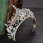 Vintage Big Crown Queen Tiara Hair <b>Jewelry</b> Gold Crysta Crown For Wedding Bride Hair Accessories GL-367