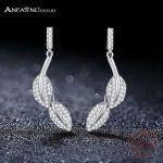 ANFASNI Trendy 925 Sterling Silver Leaf <b>Wedding</b> Earrings Women CZ Crystal Earrings <b>Jewelry</b> Pendientes Brincos CGSER0145-B