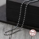 S925 Men's Sterling <b>Silver</b> <b>Necklace</b> Personality classics Simple and generous retro series Round beads sweater chain Send a gift