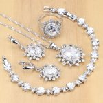 925 <b>Silver</b> Bridal Jewelry White Zircon Jewelry Sets Decoration For Women Wedding Earrings Pendant Necklace Rings <b>Bracelet</b>